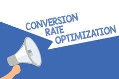 Conversión Rate Optimization del texto de la escritura Sistema del significado del concepto para el porcentaje cada vez mayor del stock de ilustración
