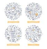 Conversión Rate Optimization Doodle Illustrations Imagen de archivo libre de regalías