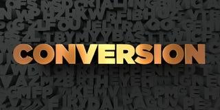 Conversión - texto del oro en fondo negro - imagen común libre rendida 3D de los derechos ilustración del vector