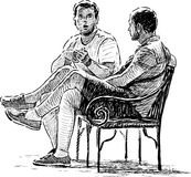 Conversing men. Vector drawing of the two young men talking in a city park royalty free illustration