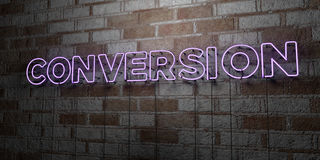 CONVERSION - Glowing Neon Sign on stonework wall - 3D rendered royalty free stock illustration Royalty Free Stock Image