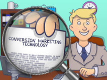 Conversion Marketing Technology through Lens. Doodle Style. Stock Image