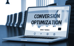 Conversion Optimization Concept on Laptop Screen. 3D. Closeup Conversion Optimization Concept on Landing Page of Laptop Display in Modern Meeting Room. Toned royalty free stock image