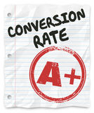 Conversion Rate Grade Lined Paper Successful Sales Percentage. Conversion Rate words on lined student paper with a grade of A Plus stamped on it to illustrate a Royalty Free Stock Photos