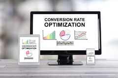 Conversion rate optimization concept on different devices. Conversion rate optimization concept shown on different information technology devices royalty free stock image