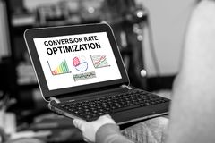 Conversion rate optimization concept on a tablet. Tablet screen displaying a conversion rate optimization concept royalty free stock image