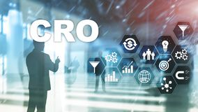 Conversion Rate Optimization. CRO Business Technology Finance concept on a virtual screen. Conversion Rate Optimization. CRO Business Technology Finance concept royalty free stock photography