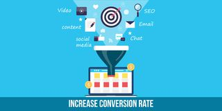 Conversion rate optimization - flat design web banner. Concept of increasing conversion rate of online sales. Idea of sales funnel optimization with the help of royalty free illustration