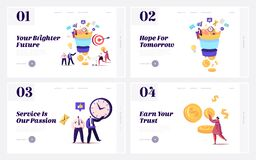 Free Conversion Rate Optimization Landing Page Template Set. Tiny Characters Put Money Into Huge Sales Funnel Royalty Free Stock Image - 182440756
