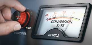 Conversion Rate Optimization Tool. Hand turning optimization knob up to 100 percent and dial indicating conversion rate metrics. CRO concept. Composite image stock illustration