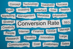 Conversion Rate Text On Piece Of Torn Paper Stock Photos