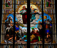 Conversion of Saint Paul. Stained glass window depicting the Conversion of Saint Paul, on the road to Damascus. This window is located in the Dom of Cologne stock image