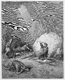 Conversion of Saul. Picture from The Holy Scriptures, Old and New Testaments books collection published in 1885, Stuttgart-Germany. Drawings by Gustave Dore stock illustration