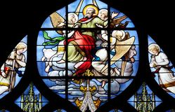 Conversion of St. Paul the Apostle. Stained glass window in Saint Severin church in Paris, France stock photography