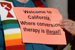 Conversion Therapy Illegal. Sign at protest and vigil against gay conversion therapy in San Diego, California royalty free stock photo
