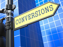Conversions Word on Yellow Roadsign Stock Photography