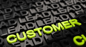 Convert Lead to Sales. Focus on the word customer with lead words surrounding it around over black background. 3D concept illustration of leads to sale Royalty Free Stock Photo