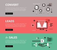 Convert Leads to Sales. Web banners  set Stock Photo