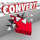 Converta a seta da palavra 3d através de Maze Selling aos clientes Fotografia de Stock