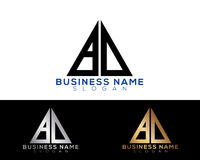 6026-01 [Converted]. Bd Logo Letters with Gold and Black Colors and Swoosh Stock Photos