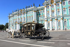 Converted coach near Hermitage Museum Royalty Free Stock Images