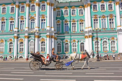 Converted coach near Hermitage Museum, Russia Royalty Free Stock Photos