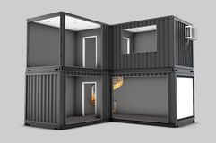 Converted old shipping container, 3d Illustration isolated gray Royalty Free Stock Photos
