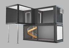 Converted old shipping container, 3d Illustration isolated gray Royalty Free Stock Image