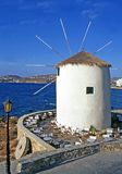 Converted windmill. A converted windmill on the greek island of Mykonos made into a bar royalty free stock photo