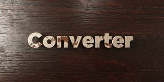 Converter - grungy wooden headline on Maple  - 3D rendered royalty free stock image Stock Images