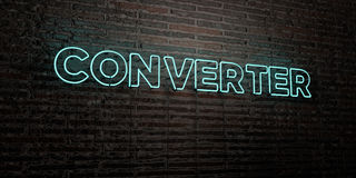 CONVERTER -Realistic Neon Sign on Brick Wall background - 3D rendered royalty free stock image Stock Images
