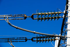 Converter station electrical ceramic insulators Royalty Free Stock Photography