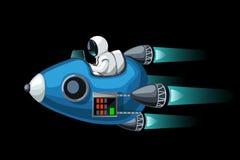 Convertibel ruimteschip op zwarte vector illustratie
