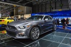 Convertibile di Ford Mustang al salone dell'automobile di Ginevra Fotografia Stock