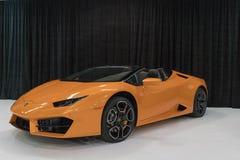 Convertibile di Lamborghini Huracan su esposizione fotografia stock libera da diritti