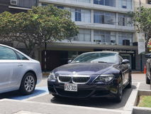 Convertible BMW M6 parked in San Isidro district, Lima stock photo