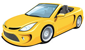 Convertible car. Vector yellow convertible car on white background vector illustration