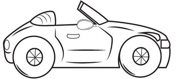Convertible car coloring page Royalty Free Stock Image