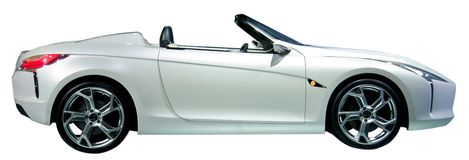 Convertible car isolated. White convertible car isolated on white Royalty Free Stock Photos