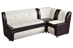 Convertible corner sectional sofa bed in imitation leather, furn Royalty Free Stock Image