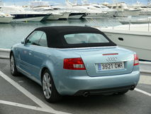 Convertible lighht blue Audi with black soft top Stock Photography