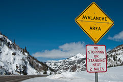 Avalanche Area Sign stock photography