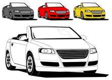 Convertible sports car. Illustration of generic convertible sports car isolated on white, different colors stock illustration