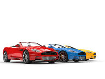 Convertible sports cars - primary colors Royalty Free Stock Images
