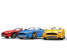 Convertible sports cars - primary colors - studio shot. Isolated on white background Stock Photo