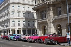 Convertible vintage cars parked in Havana, Cuba Royalty Free Stock Photography