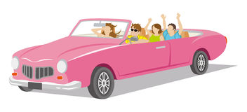 Convertible. Young people ride the Convertible. Vector Illustration stock illustration