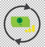 Convertido del dinero transparente icono del convertidor de la moneda Imagenes de archivo