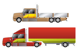 Convetional trucks with double cab Stock Photo