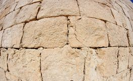 Convex ancient stone wall texture Stock Photos